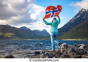 ノルウェー, 振ること, 背景, 自然, 女, 旗