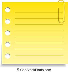 ノートペーパー, 黄色, クリップ, ブランク