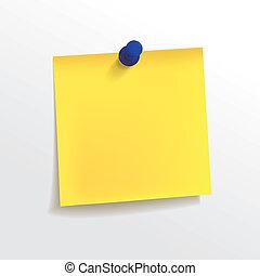 ノートペーパー, 黄色, ピン, ブランク