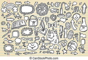 ノート, いたずら書き, スケッチ, デザイン, セット