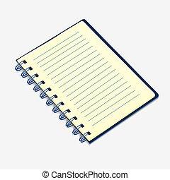 ノート, イラスト, ベクトル, らせん状に動きなさい