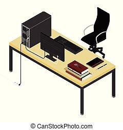 ノート, 協力者, chair., 場所, コンピュータ, 本, 山, オフィス, オフィス。, 仕事, チーム, ペン...