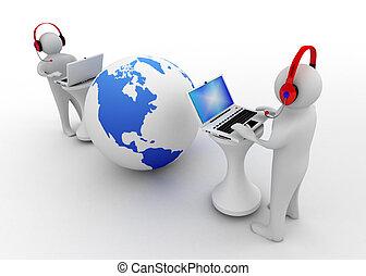 ノート, 接続される, 3d, 人, インターネット