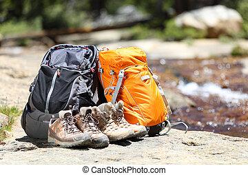 ハイカー, バックパック, 靴, ハイキング
