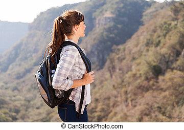 ハイカー, 山の 上, 若い, 女性