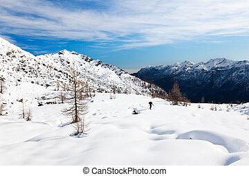 ハイカー, 山, 冬