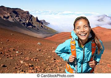 ハイカー, 火山, 歩くこと, -, ハイキング