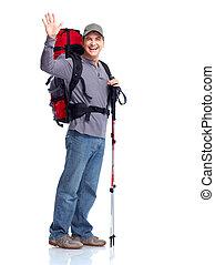 ハイカー, tourist., 人, hiking.