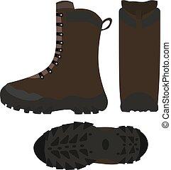 ハイキング, イラスト, 靴, ブーツ, 隔離された, ベクトル, 白