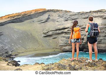 ハイキング, ハイカー, -, ハワイ, 観光客, 恋人, 旅行