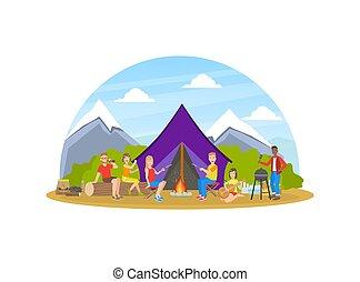 ハイキング, ベクトル, 人々, 風景, ホリデー, 冒険, キャンプ, 自然, 朗らかである, 観光客, 夏, ...