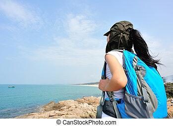 ハイキング, 女, 海岸