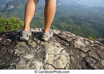 ハイキング, 山, 足, ピークに達しなさい