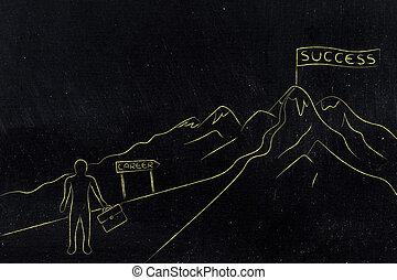 ハイキング, 成功, キャリア, ビジネス, 道, 人