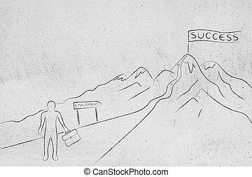 ハイキング, 成功, ビジネス, 道, 雇用, 人