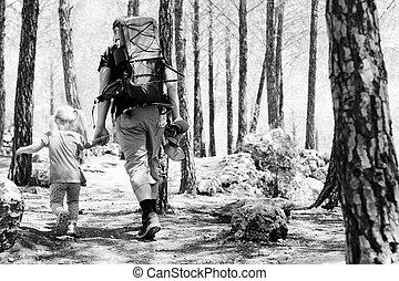 ハイキング, 父, 子供