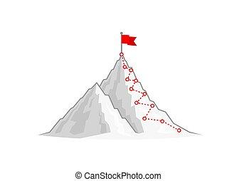 ハイキング, mountain., 旅行, 上
