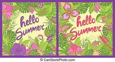 ハイビスカス, 夏, カラフルである, レタリング, ポスター, 挨拶, 葉, トロピカル, 花, 他, 袋, tshirt, カード, パーティー, 花, こんにちは, エキゾチック