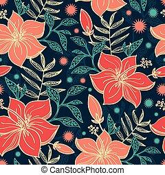 ハイビスカス, 活気に満ちた, seamless, トロピカル, ベクトル, 背景 パターン, 花