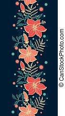 ハイビスカス, 縦, 活気に満ちた, seamless, トロピカル, ベクトル, 背景 パターン, 花, ボーダー