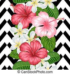 ハイビスカス, 織物, 切り抜き, 作られた, 背景, 背景, パターン, 包むこと, 使用, seamless, トロピカル, plumeria., mask., ペーパー, 容易である, なしで, 花