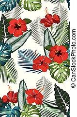 ハイビスカス, 花木型, 葉, seamless, トロピカル, ベクトル, 背景, 白い赤
