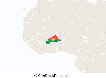ハイライトした, アフリカ, 地図,  faso,  Burkina