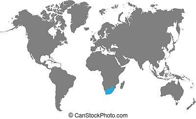 ハイライトした, 地図, アフリカ, 南, 世界