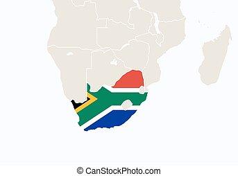 ハイライトした, 地図, アフリカ, 南