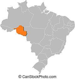 ハイライトした, 地図, rondonia, ブラジル