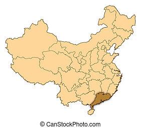 ハイライトした, 陶磁器, guangdong, 地図