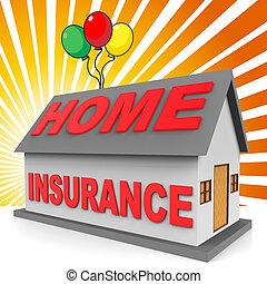 ハウジング, レンダリング, 意味, 家, 損害保障, 保険, 3d