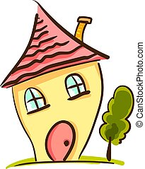 ハウスの色, ベクトル, ∥あるいは∥, illustration., 黄色, 漫画