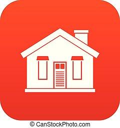 ハウスアイコン, 赤, デジタル