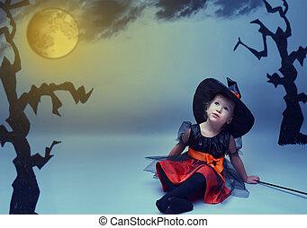 ハエ, わずかしか, halloween., 空, 月, 魔女, 夜, 夢