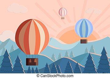 ハエ, イラスト, 熱気, 山。, 風船, ベクトル, 夜明け, sunset., 風景, 日の出, 山