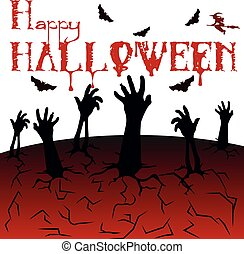 ハエ, シルエット, 来なさい, halloween., 死んだ, 背景, コウモリ, イラスト, 手, 地球, 白, どこ(で・に)か, 赤, クラックリング