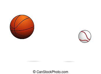 ハエ, バスケットボールボール, シンボル, セット, 野球, スポーツ