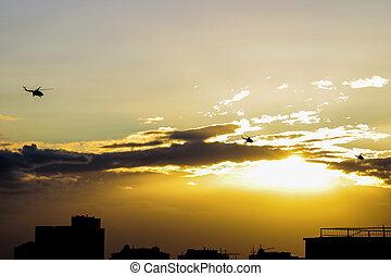 ハエ, ヘリコプター, 夕方, 都市, 上に, 3, の間, sunset.