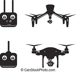 ハエ, ベクトル, 航空写真, イラスト, 無人機, カメラ, ビデオ, ヘリコプター, シルエット