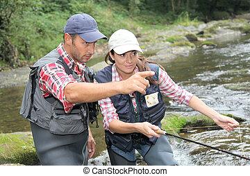 ハエ, 女性釣り, 人, 川
