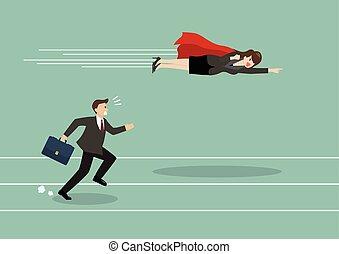 ハエ, 女, superhero, ビジネス, 彼の, パス, 競争相手