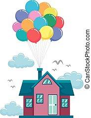 ハエ, 家, 風船, カラフルである