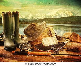ハエ, 山, デッキ, 湖, 装置, 釣り, 光景