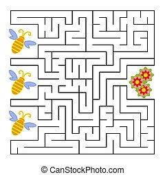 ハエ, 平ら, 何か, 広場, illustration., flower., labyrinth., 単純である, 隔離された, ベクトル, 蜂, 意志, answer.