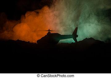 ハエ, 強くされた, シルエット, フィート数, 夜, zone., 焦点を合わせなさい。, 精選する, backlit., 霧が濃い, 準備ができた, ヘリコプター, 飾られる, 軍, 始める, 砂漠, 対立