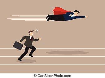 ハエ, 彼の, superhero, パス, ビジネスマン, 競争相手