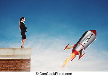 ハエ, 概念, ロケット, 会社, 始動, 速い, fast., 準備ができた, 新しい