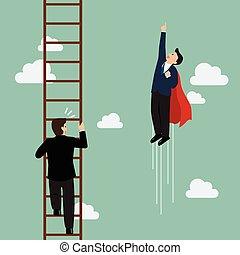 ハエ, superhero, はしご, パス, ビジネスマン, 上昇