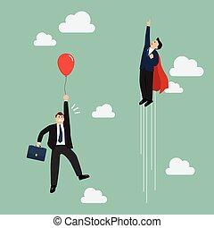 ハエ, superhero, balloon, パス, ビジネスマン, 赤